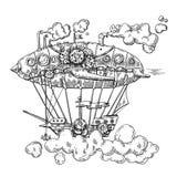 Ręka rysujący wektorowego nakreślenia rocznika ilustracyjny samolot ilustracja wektor