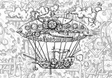 Ręka rysujący wektorowego nakreślenia rocznika ilustracyjny samolot ilustracji