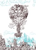 Ręka rysujący wektorowego nakreślenia rocznika ilustracyjny samolot royalty ilustracja