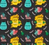 Ręka rysujący wektorowej abstrakcjonistycznej śmiesznej lato czasu lemoniady detox wody bezszwowy wzór z arbuzem, śniadanio-lunch Zdjęcia Stock