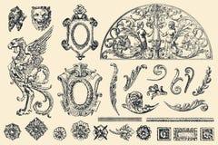 Ręka rysujący wektorowi retro ornamenty royalty ilustracja