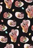 Ręka rysujący wektorowy abstrakcjonistyczny bezszwowy deseniowy kolaż z kaktusami zasadza ilustracje i confetti kształtuje odosob royalty ilustracja