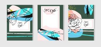 Ręka rysujący wektorowy abstrakcjonistyczny kreatywnie niezwykły artystyczny ślubu save daktylowych kart szablonu inkasowy ustawi Obrazy Stock