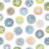 Ręka rysujący wektorowy abstrakcjonistyczny szorstki geometryczny monochromatyczny bezszwowy spirala wzór w czarny i biały kolora ilustracji