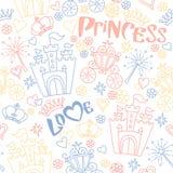 Ręka rysujący wektorowy bezszwowy princess wzór