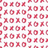 Ręka rysujący wektorowy bezszwowy wzór z XOXO Zdjęcie Royalty Free