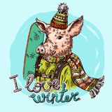 Ręka rysujący wektorowy ilustracyjny świniowaty nakreślenie Symbol nowy rok 2019 Obraz Royalty Free