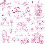 Ręka rysujący wektorowy ilustracyjny ustawiający princess znak, Castel, tron, fracht, magiczna różdżka, lustro, faszerująca zabaw royalty ilustracja