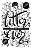 Ręka rysujący wektorowy literowanie z dekoracyjnymi elementami Ja ` s daleko polepsza niż kiedykolwiek frazuje ręką Odosobniony w ilustracja wektor
