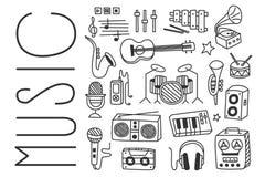 Ręka rysujący wektorowy projekt różnorodni instrumenty muzyczni, mikrofony, radiowy odbiorca, gracz, taśma pisak, mówca ilustracji