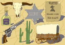 Ręka rysujący wektorowy ustawiający dla kowboja ilustracja wektor