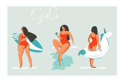 Ręka rysujący wektorowych kreskówki lata czasu zabawy plaży dziewczyn inkasowy ilustracyjny ustawiający z pływackiego basenu pław Zdjęcia Stock