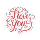 Ręka rysujący wektoru muśnięcie pisze list romantyczną pocztówkę Kocham ciebie formułuję ilustrację Obraz Royalty Free