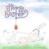 Ręka rysujący Wielkanocny kartka z pozdrowieniami w formacie Wielkanoc królik Zdjęcia Stock
