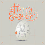 Ręka rysujący Wielkanocny kartka z pozdrowieniami w wektorowym formacie Wielkanoc królik Zdjęcie Royalty Free