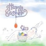 Ręka rysujący Wielkanocny kartka z pozdrowieniami w wektorowym formacie Wielkanoc królik Zdjęcia Royalty Free
