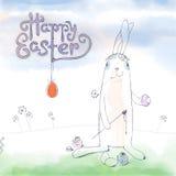 Ręka rysujący Wielkanocny kartka z pozdrowieniami w wektorowym formacie Wielkanoc królik Fotografia Stock