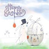 Ręka rysujący Wielkanocny kartka z pozdrowieniami w wektorowym formacie Wielkanoc królik Fotografia Royalty Free
