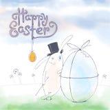 Ręka rysujący Wielkanocny kartka z pozdrowieniami w wektorowym formacie Wielkanoc królik Zdjęcia Stock
