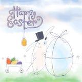 Ręka rysujący Wielkanocny kartka z pozdrowieniami w wektorowym formacie Wielkanoc królik Obrazy Stock