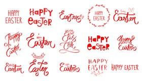 Ręka rysujący wielki set Szczęśliwy Wielkanocny dnia znak Duża kolekcja kreśląca czerwona ręka Wielkanocnego królika ikona ilustracji