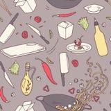 Ręka rysujący wok restauracyjny bezszwowy wzór Doodle azjatykci karmowy tło ilustracja wektor