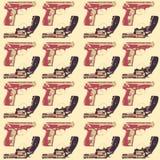 Ręka rysujący wystrzał sztuki seamles wzór z colorfull pistoletami Zdjęcia Royalty Free