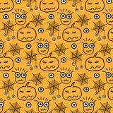 Ręka Rysujący wzór Z potworami Halloweenowymi ilustracja wektor