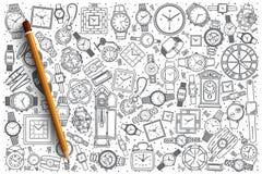Ręka rysujący zegarka sklepu tło Zdjęcie Stock