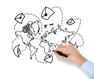 Ręka rysuje światową mapę Obrazy Royalty Free