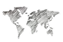 Ręka rysuje światową mapę Fotografia Stock