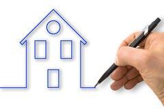 Ręka rysuje kontur błękitny dom Fotografia Stock