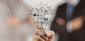 Ręka rysuje kreatywnie strategię biznesową zdjęcie royalty free