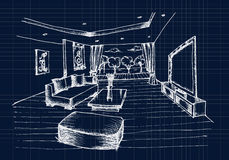 Ręka rysuje Wewnętrznego projekt dla żywego pokoju Zdjęcie Stock