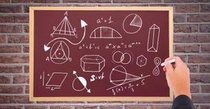 Ręka rysunkowi diagramy na blackboard ilustracji