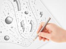 Ręka rysunkowy abstrakt kreśli i doodles na papierze Obraz Royalty Free