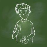 Ręka rysunkowy Chory mężczyzna na zieleni desce - Wektorowa ilustracja Zdjęcie Royalty Free