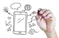 Ręka rysunkowy telefon komórkowy z ogólnospołecznym medialnym pojęciem Zdjęcia Royalty Free