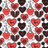 Ręka rysunku miłość w Paryż Niska bielizna i wieża eifla Bezszwowa deseniowa czerwień odizolowywająca na białym tle Obrazy Royalty Free