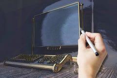 Ręka rysunku pisać na maszynie maszyna ilustracji