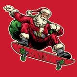 Ręka rysunku styl Santa Claus doskakiwanie z jazdy deskorolka ilustracja wektor
