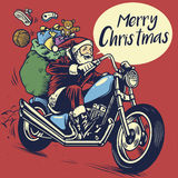 Ręka rysunku styl Santa Claus przejażdżka motocykl deliverin royalty ilustracja