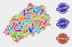 Ręka skład Świątobliwa Helena wyspy mapa i Grunge Handmade foki ilustracja wektor