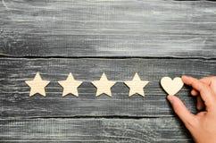 Ręka stawia serce cztery gwiazdy Wybór nabywcy Ogólnoludzki rozpoznanie i admiracja Oszacowywać restauracja lub hotel obrazy royalty free