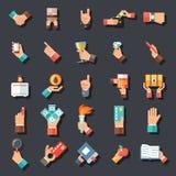 Ręka symboli/lów akcesoriów projekta pojęcia ikona Ustawiający Płaski szablon na Eleganckiej tło wektoru ilustraci Zdjęcie Stock