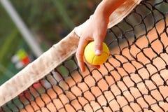 Ręka target118_1_ tenisową piłkę Zdjęcie Royalty Free