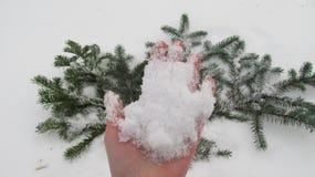 Ręka trzyma śnieg Fotografia Stock