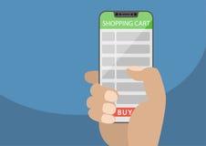 Ręka trzyma bezpłatnego mądrze telefon z wózek na zakupy listą jako pojęcie online zakupy również zwrócić corel ilustracji wektor Obraz Stock