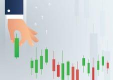 Ręka trzyma candlestick mapy rynku papierów wartościowych ikony wektoru tło Fotografia Stock