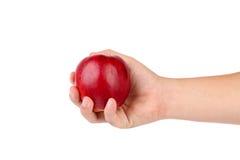 Ręka trzyma czerwonego jabłka. Fotografia Stock